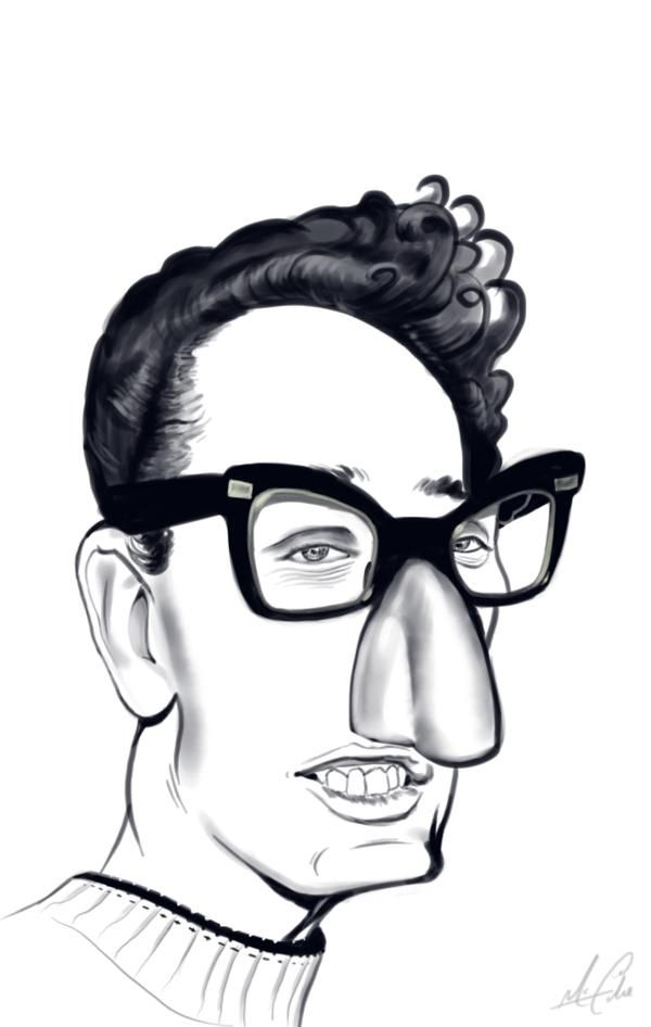 Buddy Holly Caricature by malakuko, seen on DeviantArt