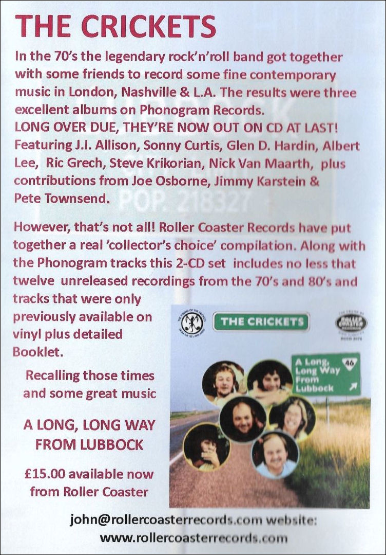 Advert for Crickets CD release which appears on the inside front cover