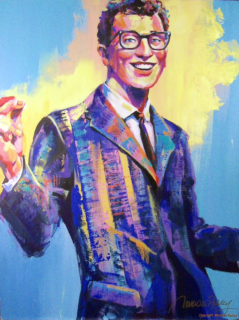 Malcolm Farley - Buddy Holly - Original Acrylic Painting On Canvas, seen on ebay