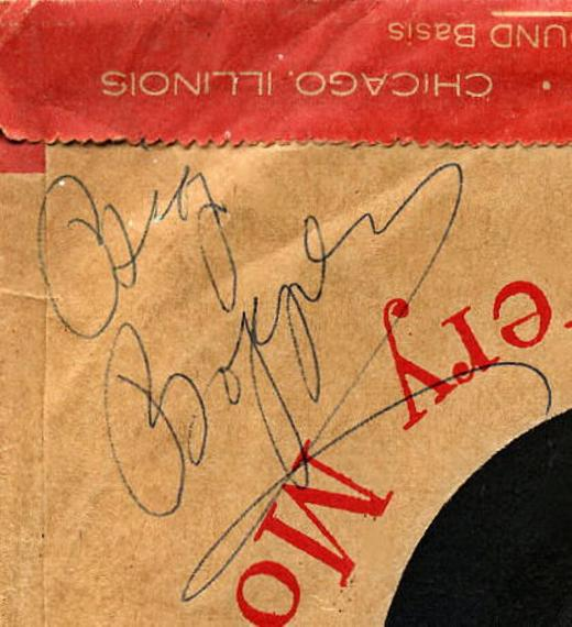 MERCURY 71375 close up of sleeve signed by Big Bopper