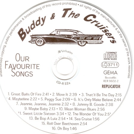 BUDDY & THE CRUISERS FIRST CD 1996