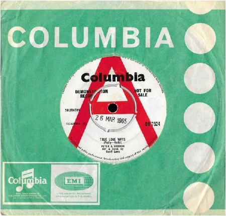 COLUMBIA DB 7524  Demonstration Record released 26 March 1965