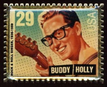 Buddy Holly US stamp badge